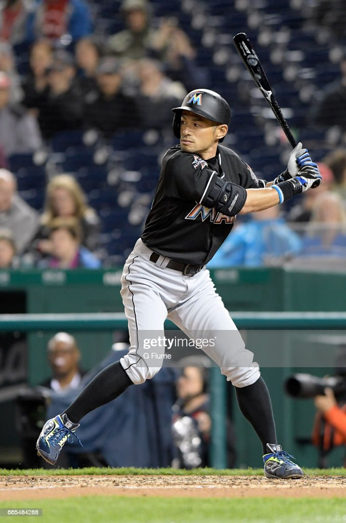 Ichiro Suzuki #51 of the Miami Marlins bats in the seventh inning against the Washington Nationals at Nationals Park on April 6, 2017 in Washington, DC. Miami won the game 4-3.