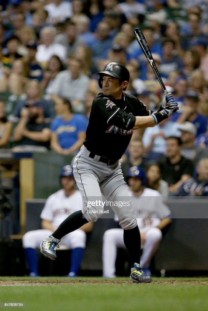 Ichiro Suzuki #51 of the Miami Marlins bats in the seventh inning against the Milwaukee Brewers at Miller Park on September 15, 2017 in Milwaukee, Wisconsin.