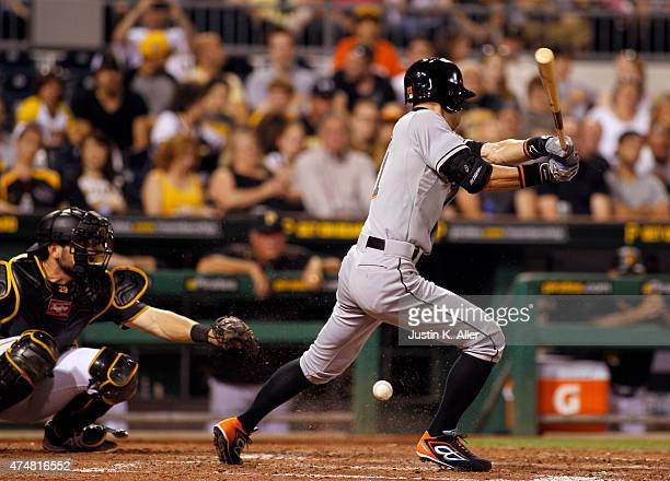 Ichiro Suzuki of the Miami Marlins bats in the seventh inning during the game against the Pittsburgh Pirates at PNC Park on May 26 2015 in Pittsburgh...
