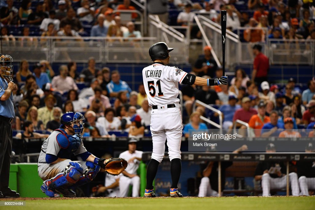 Ichiro Suzuki #51 of the Miami Marlins bats in the seventh inning during the game between the Miami Marlins and the Chicago Cubs at Marlins Park on June 23, 2017 in Miami, Florida.