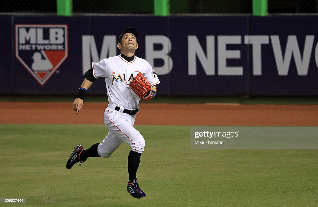 Ichiro Suzuki #51 of the Miami Marlins chases a foul ball during a game against the Washington Nationals at Marlins Park on September 21, 2016 in Miami, Florida.