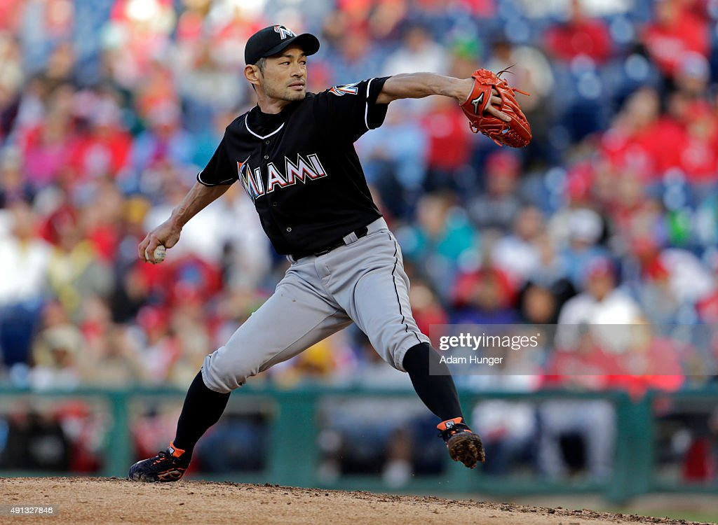 Ichiro Suzuki #51 of the Miami Marlins delivers a pitch during the eighth inning of an MLB game against the Philadelphia Phillies at Citizens Bank Park on October 4, 2015 in Philadelphia, Pennsylvania. The Phillies defeated the Marlins 7-2.