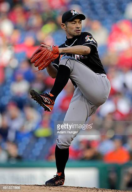 Ichiro Suzuki of the Miami Marlins delivers a pitch during the eighth inning of an MLB game against the Philadelphia Phillies at Citizens Bank Park...