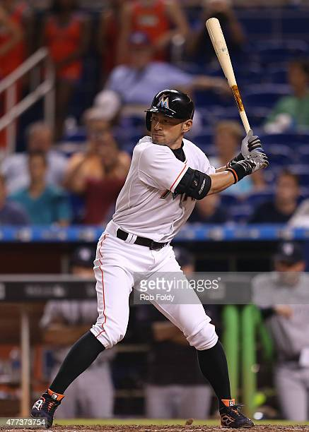 Ichiro Suzuki of the Miami Marlins during an atbat in the eighth inning of the game against the New York Yankees at Marlins Park on June 16 2015 in...