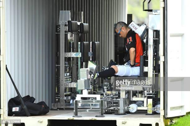 Ichiro Suzuki of the Miami Marlins exercises on weight training equipment at the club's spring training site on March 24 2017 in Jupiter Florida