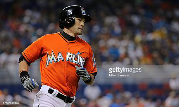 Ichiro Suzuki of the Miami Marlins flies out in the second inning during a game against the San Francisco Giants at Marlins Park on July 2 2015 in...
