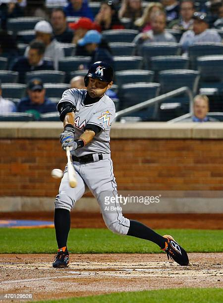 Ichiro Suzuki of the Miami Marlins flies out in the second inning against the New York Mets during their game at Citi Field on April 17 2015 in New...