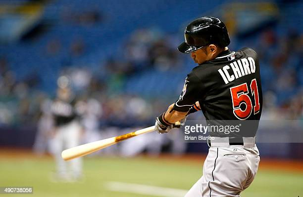 Ichiro Suzuki of the Miami Marlins flies out to right field during the seventh inning of a game against the Tampa Bay Rays on September 30 2015 at...