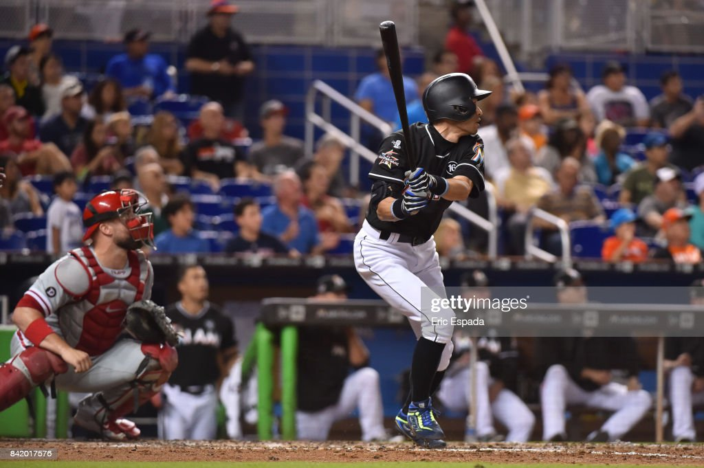 Ichiro Suzuki #51 of the Miami Marlins flys out to left field during the sixth inning against the Philadelphia Phillies at Marlins Park on September 2, 2017 in Miami, Florida.