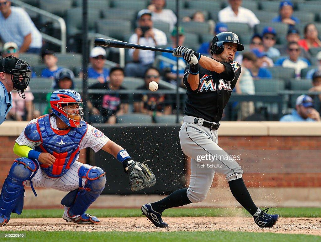 Ichiro Suzuki #51 of the Miami Marlins fouls a ball off in the ninth inning against the New York Mets at Citi Field on July 6, 2016 in the Flushing neighborhood of the Queens borough of New York City. The Mets defeated the Marlins 4-2.