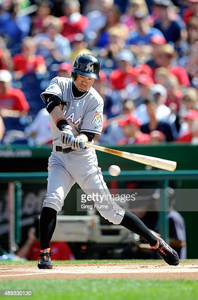 Ichiro Suzuki of the Miami Marlins fouls off a pitch in the first inning against the Washington Nationals at Nationals Park on September 20 2015 in...