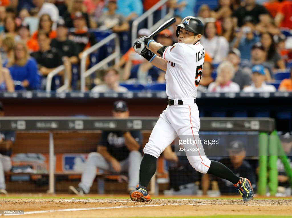Ichiro Suzuki #51 of the Miami Marlins fouls out to left field pinch hitting in the sixth inning of play against the Atlanta Braves at Marlins Park on October 1, 2017 in Miami, Florida.