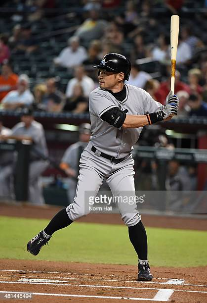 Ichiro Suzuki of the Miami Marlins gets ready in the batters box during the first inning against the Arizona Diamondbacks at Chase Field on July 20...