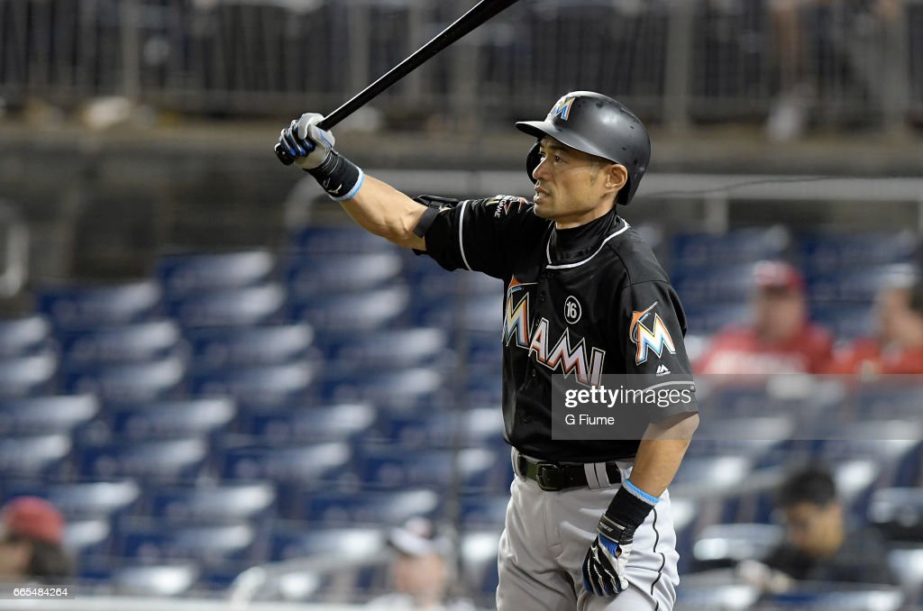 Ichiro Suzuki #51 of the Miami Marlins gets ready to bat in the seventh inning against the Washington Nationals at Nationals Park on April 6, 2017 in Washington, DC. Miami won the game 4-3.