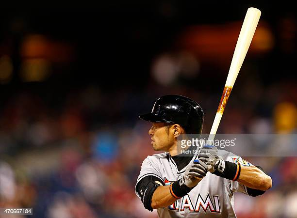 Ichiro Suzuki of the Miami Marlins gets set to bat during the sixth inning against the Philadelphia Phillies during a game at Citizens Bank Park on...
