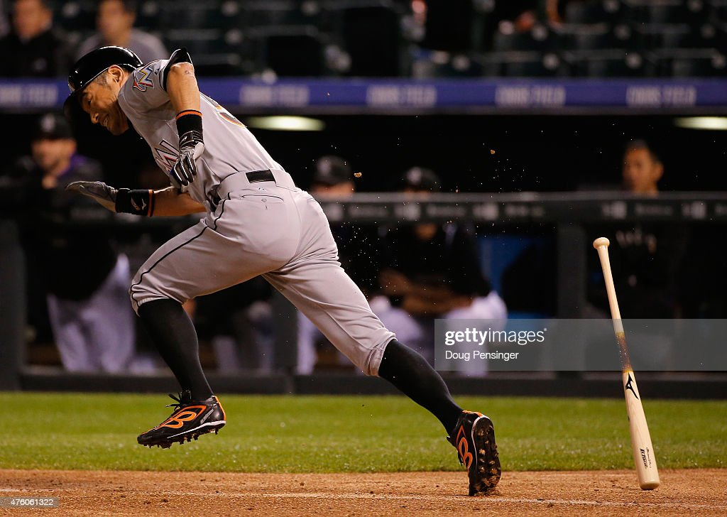 Ichiro Suzuki #51 of the Miami Marlins grounds out as he pinch hits against the Colorado Rockies in the eighth inning at Coors Field on June 5, 2015 in Denver, Colorado.