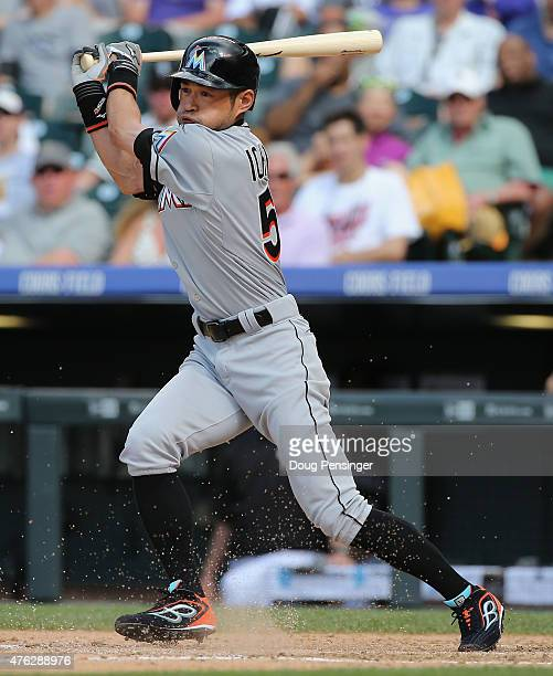 Ichiro Suzuki of the Miami Marlins grounds out as he pinch hits against the Colorado Rockies in the eighth inning at Coors Field on June 7, 2015 in...