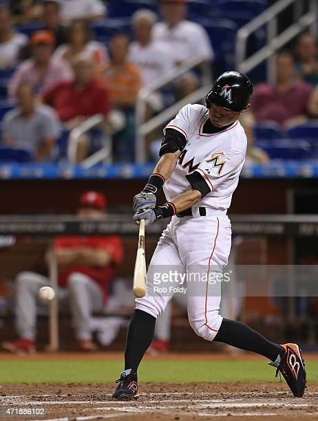 Ichiro Suzuki of the Miami Marlins grounds out during the fourth inning of the game against the Philadelphia Phillies at Marlins Park on May 1 2015...