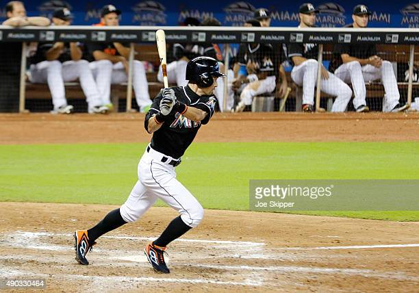 Ichiro Suzuki of the Miami Marlins grounds out in the seventh inning outfield play against the Atlanta Braves at Marlins Park on September 27 2015 in...