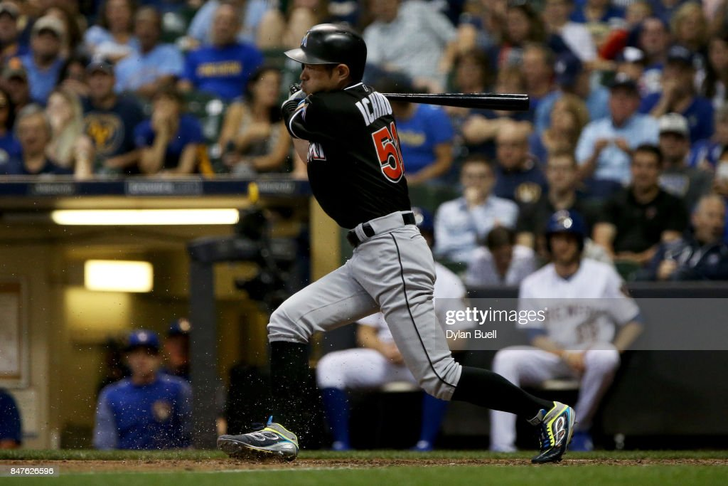 Ichiro Suzuki #51 of the Miami Marlins grounds out in the seventh inning against the Milwaukee Brewers at Miller Park on September 15, 2017 in Milwaukee, Wisconsin.