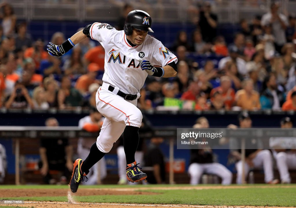 Ichiro Suzuki #51 of the Miami Marlins grounds out in the seventh inning during a game against the Atlanta Braves at Marlins Park on September 30, 2017 in Miami, Florida.