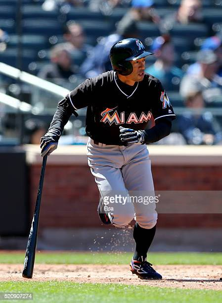 Ichiro Suzuki of the Miami Marlins hits a double in the fourth inning against the New York Mets at Citi Field on April 13 2016 in the Flushing...