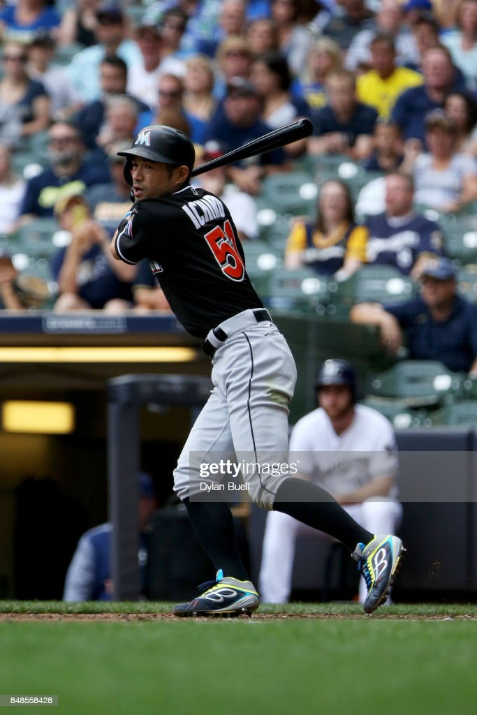 Ichiro Suzuki #51 of the Miami Marlins hits a double in the fourth inning against the Milwaukee Brewers at Miller Park on September 17, 2017 in Milwaukee, Wisconsin.