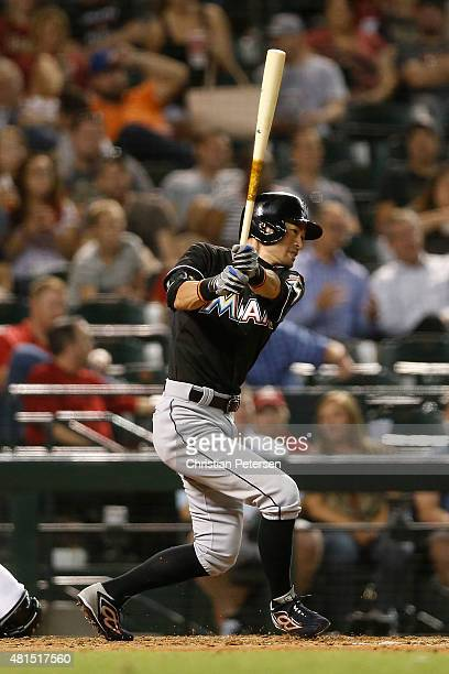 Ichiro Suzuki of the Miami Marlins hits a ground ball out against the Arizona Diamondbacks during the sixth inning of the MLB game at Chase Field on...