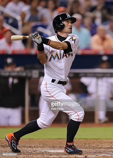 Ichiro Suzuki of the Miami Marlins hits a ground ball to second base for the third out of the eighth inning of the game against the Tampa Bay Rays at...