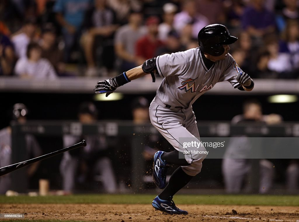 Ichiro Suzuki #51 of the Miami Marlins hits a single against the Colorado Rockies in the seventh inning at Coors Field on August 6, 2016 in Denver, Colorado. The hit was the 2,999th of Suzuki's Major League Baseball career.