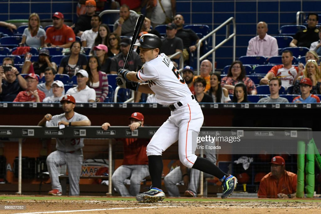 Ichiro Suzuki #51 of the Miami Marlins hits a single in the eight inning against the St. Louis Cardinals at Marlins Park on May 8, 2017 in Miami, Florida.