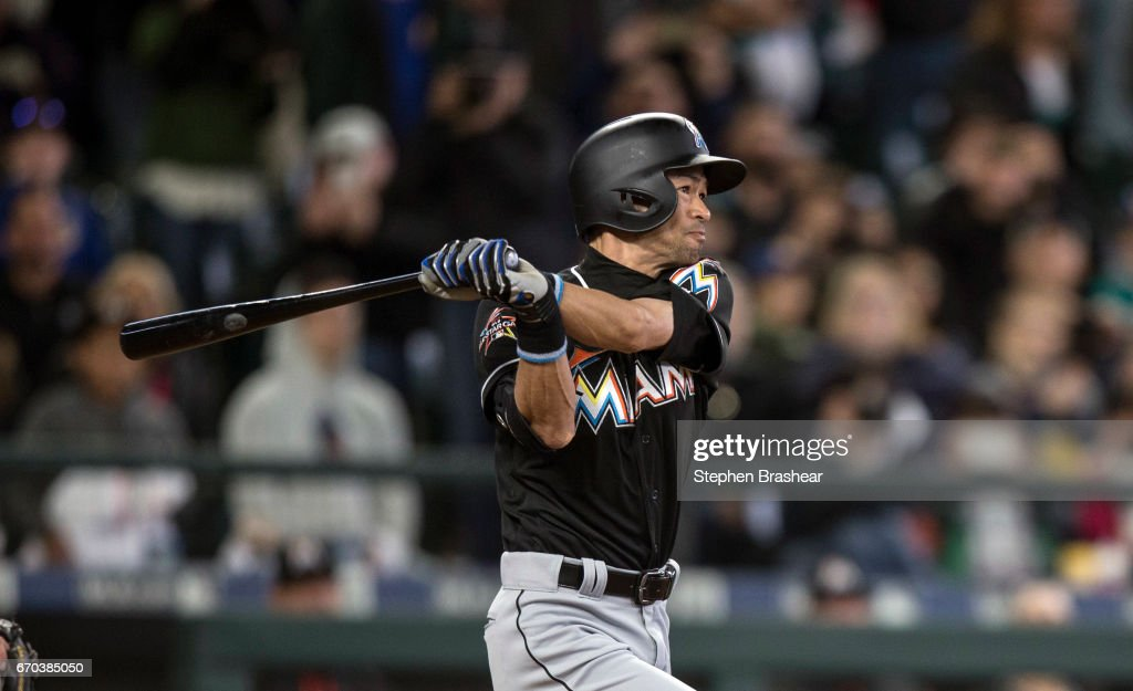 Ichiro Suzuki #51 of the Miami Marlins hits a solo home run off of relieft pitcher Evan Marshall #41 of the Seattle Mariners during the ninth inningof a game at Safeco Field on April 19, 2017 in Seattle, Washington. The Marins 10-5.
