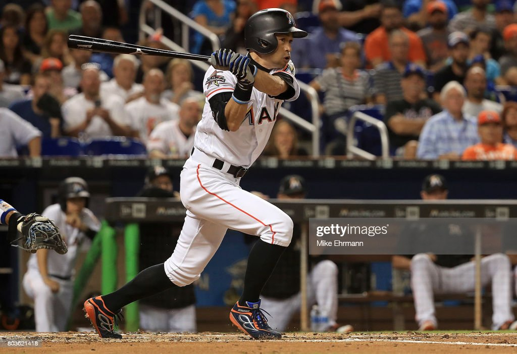 Ichiro Suzuki #51 of the Miami Marlins hits during a game against the New York Mets at Marlins Park on June 29, 2017 in Miami, Florida.