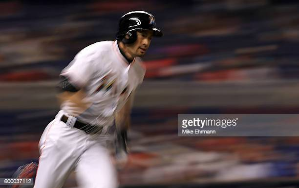 Ichiro Suzuki of the Miami Marlins hits during a game against the Philadelphia Phillies at Marlins Park on September 7 2016 in Miami Florida