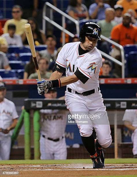 Ichiro Suzuki of the Miami Marlins hits during a game against the St Louis Cardinals at Marlins Park on June 24 2015 in Miami Florida