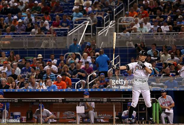 Ichiro Suzuki of the Miami Marlins hits in the fifth inning during a game against the New York Mets at Marlins Park on April 28 2015 in Miami Florida