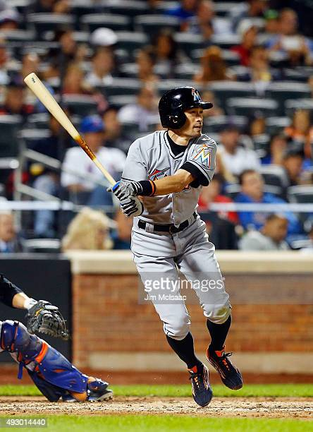 Ichiro Suzuki of the Miami Marlins in action against the New York Mets at Citi Field on September 14 2015 in the Flushing neighborhood of the Queens...