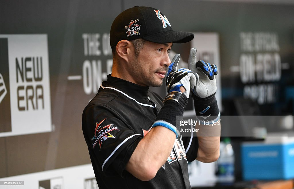 Ichiro Suzuki #51 of the Miami Marlins in the dugout before the start of the game against the Pittsburgh Pirates at PNC Park on June 8, 2017 in Pittsburgh, Pennsylvania.