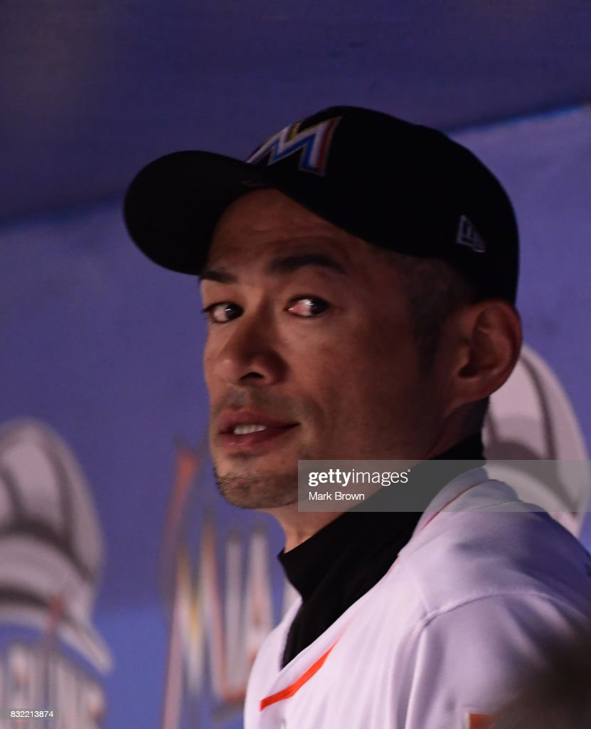 Ichiro Suzuki #51 of the Miami Marlins in the dugout in the seventh inning during the game between the Miami Marlins and the San Francisco Giants at Marlins Park on August 15, 2017 in Miami, Florida.