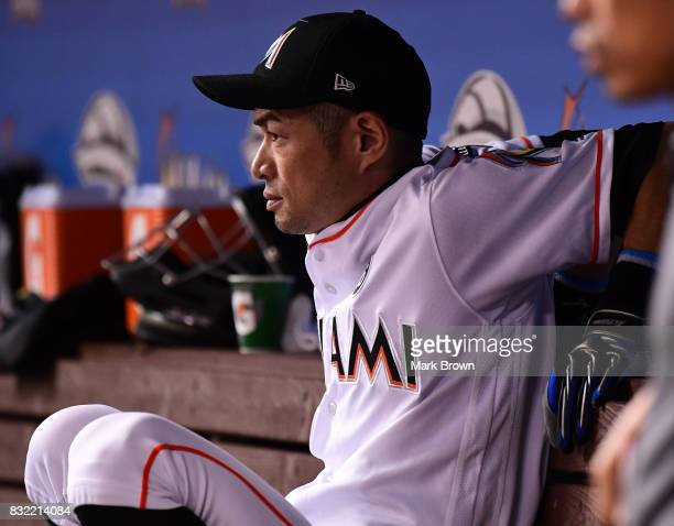 Ichiro Suzuki of the Miami Marlins in the dugout in the seventh inning during the game between the Miami Marlins and the San Francisco Giants at...