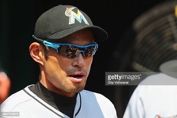 Ichiro Suzuki of the Miami Marlins in the dugout prior to playing against the St Louis Cardinals at Busch Stadium on August 16 2015 in St Louis...