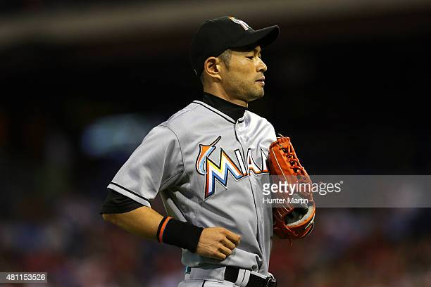 Ichiro Suzuki of the Miami Marlins jogs to the dugout in the seventh inning during a game against the Philadelphia Phillies at Citizens Bank Park on...