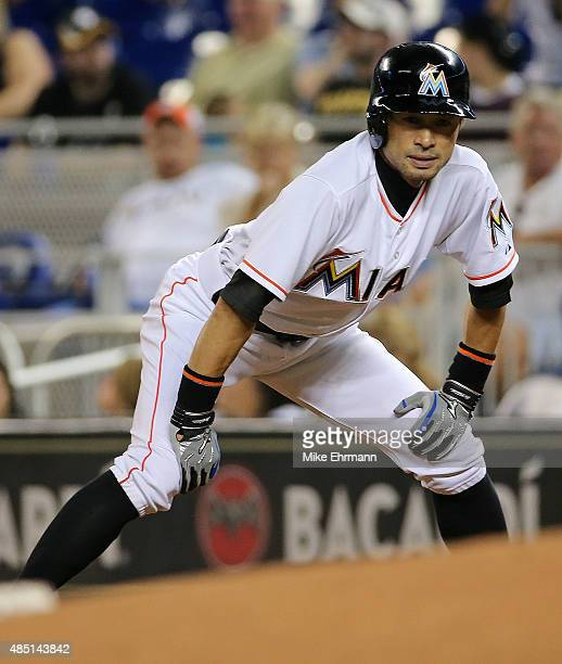 Ichiro Suzuki of the Miami Marlins leads off first during a game against the Pittsburgh Pirates at Marlins Park on August 24 2015 in Miami Florida