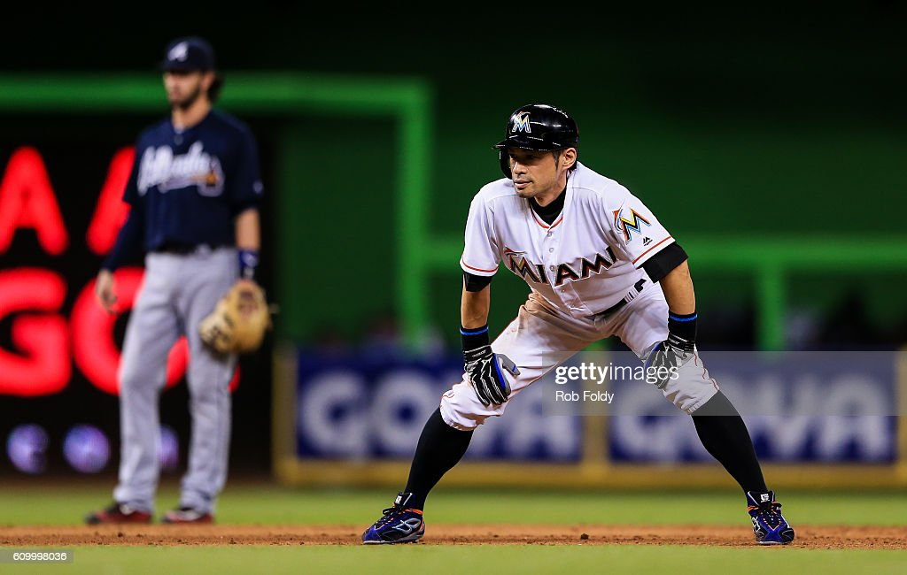 Ichiro Suzuki #51 of the Miami Marlins leads off second base during the eighth inning of the game against the Atlanta Braves at Marlins Park on September 23, 2016 in Miami, Florida.