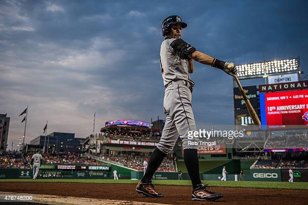 Ichiro Suzuki of the Miami Marlins leaves the dugout for an at bat during the game against the Washington Nationals at Nationals Park on May 5 2015...