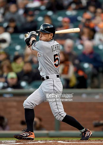 Ichiro Suzuki of the Miami Marlins lines out to third base against the San Francisco Giants in the top of the second inning at ATT Park on May 7 2015...