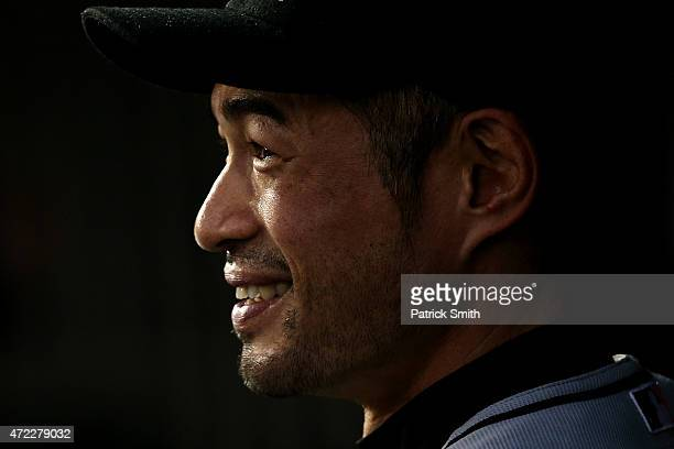 Ichiro Suzuki of the Miami Marlins looks on before playing against the Washington Nationals at Nationals Park on May 5 2015 in Washington DC