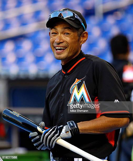 Ichiro Suzuki of the Miami Marlins looks on during 2016 Opening Day against the Detroit Tigers at Marlins Park on April 5 2016 in Miami Florida