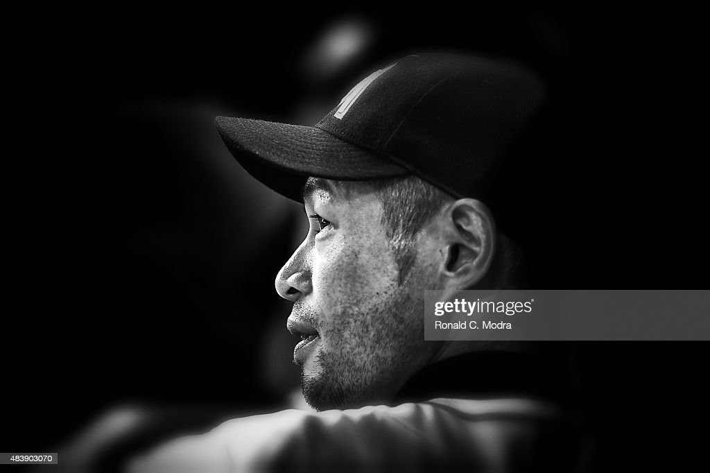 Ichiro Suzuki #51 of the Miami Marlins looks on during a MLB game against the Boston Red Sox at Marlins Park on August 11, 2015 in Miami, Florida.