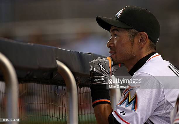Ichiro Suzuki of the Miami Marlins looks on during Opening Day against the Atlanta Braves at Marlins Park on April 6 2015 in Miami Florida